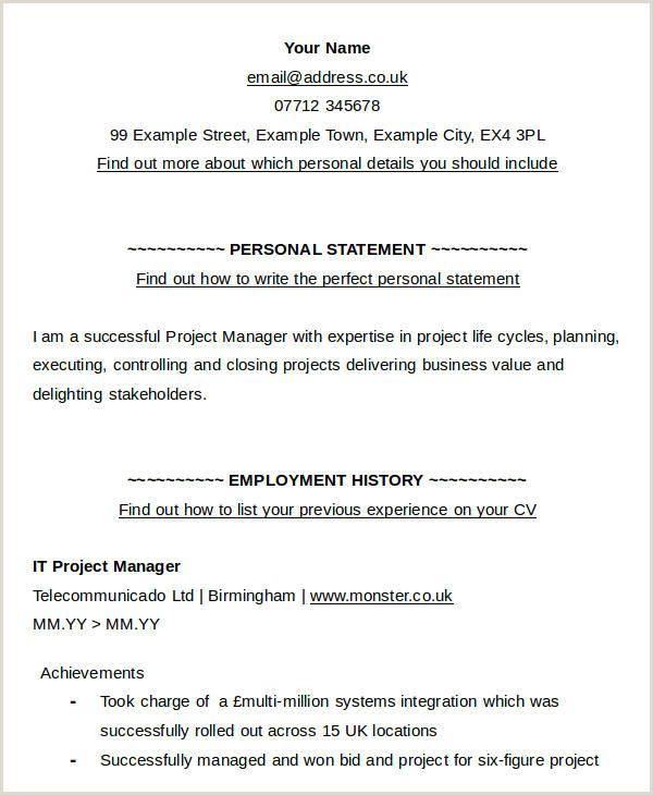 British Standard Cv format 33 Curriculum Vitae Samples Pdf Doc