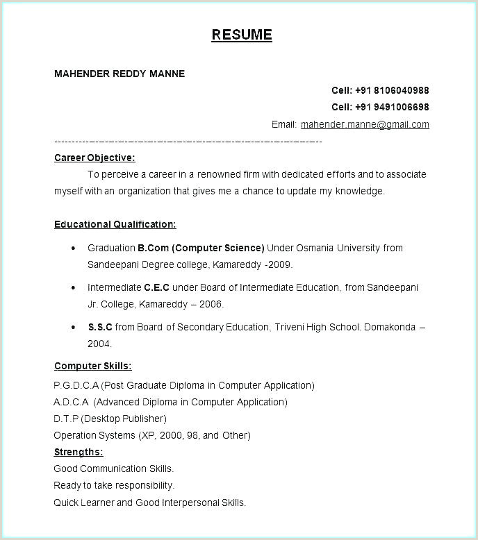 Bsc Fresher Resume format Download Pdf All Resume format Free – Meltfm