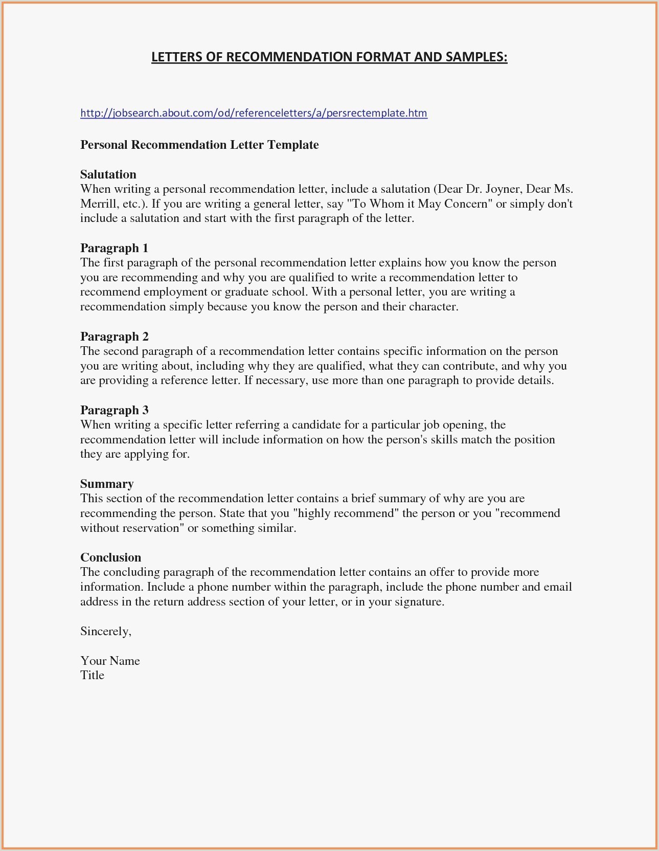 Personal Letter Template Word Format Business Correspondence
