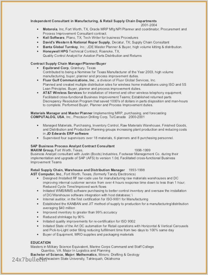 Cover Letter for Buyer Planner Inspirational Resume for