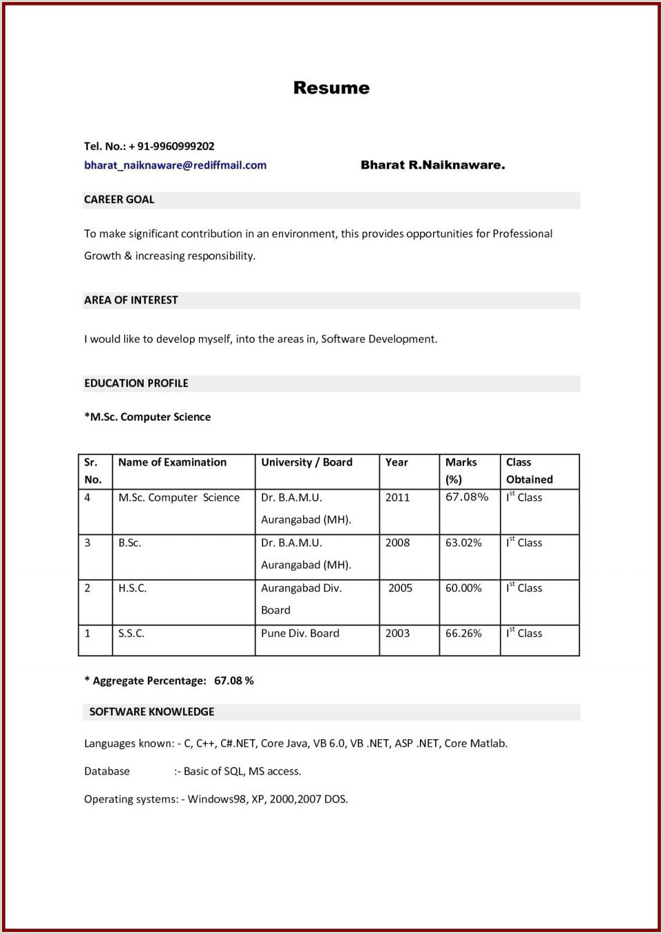 Ca Fresher Cv format New Mba Resumes for Freshers Finance atclgrain Resume Sample
