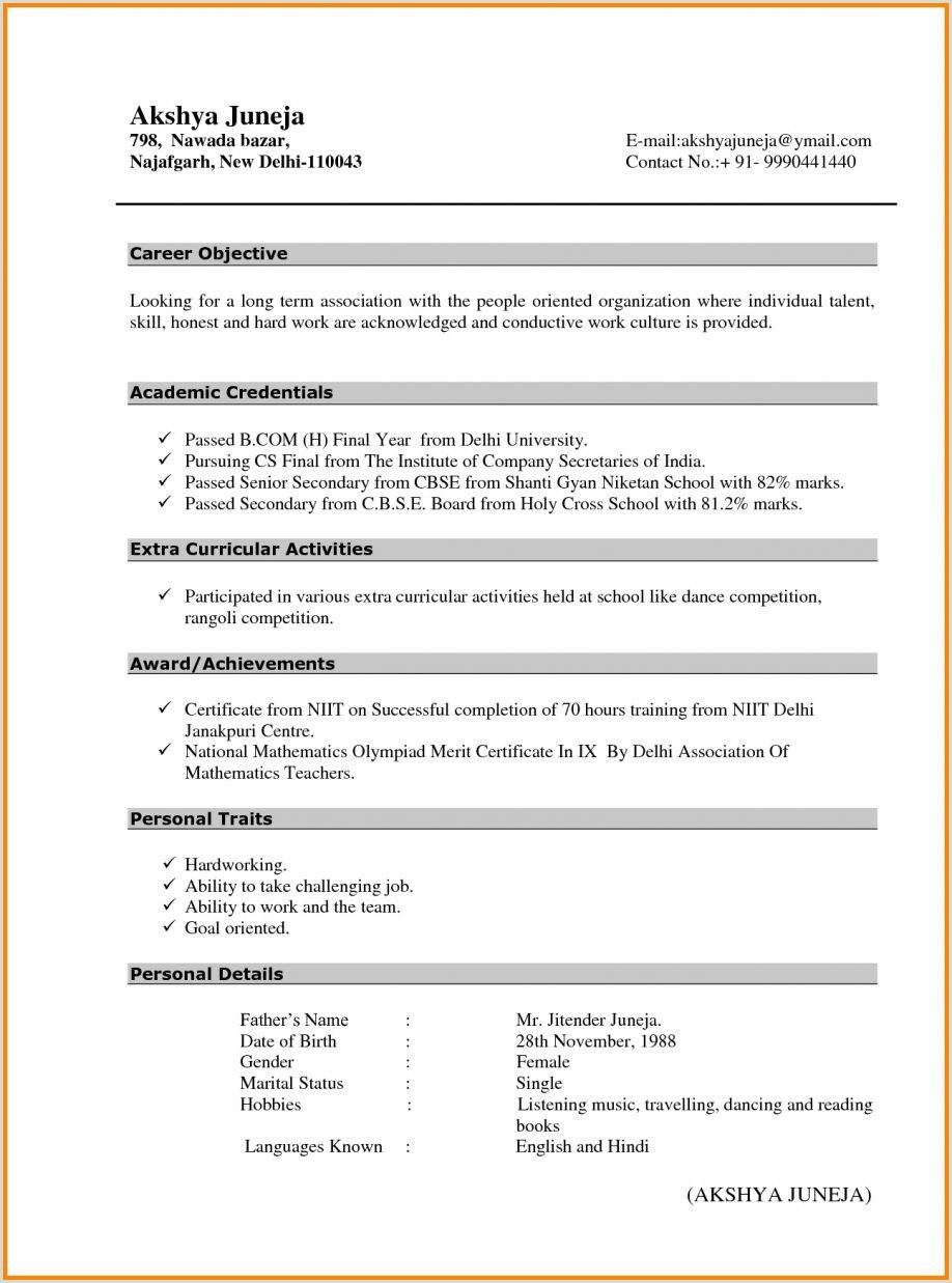 Ca Fresher Cv format Resume Template Microsoft Word Mac Sample Administrative