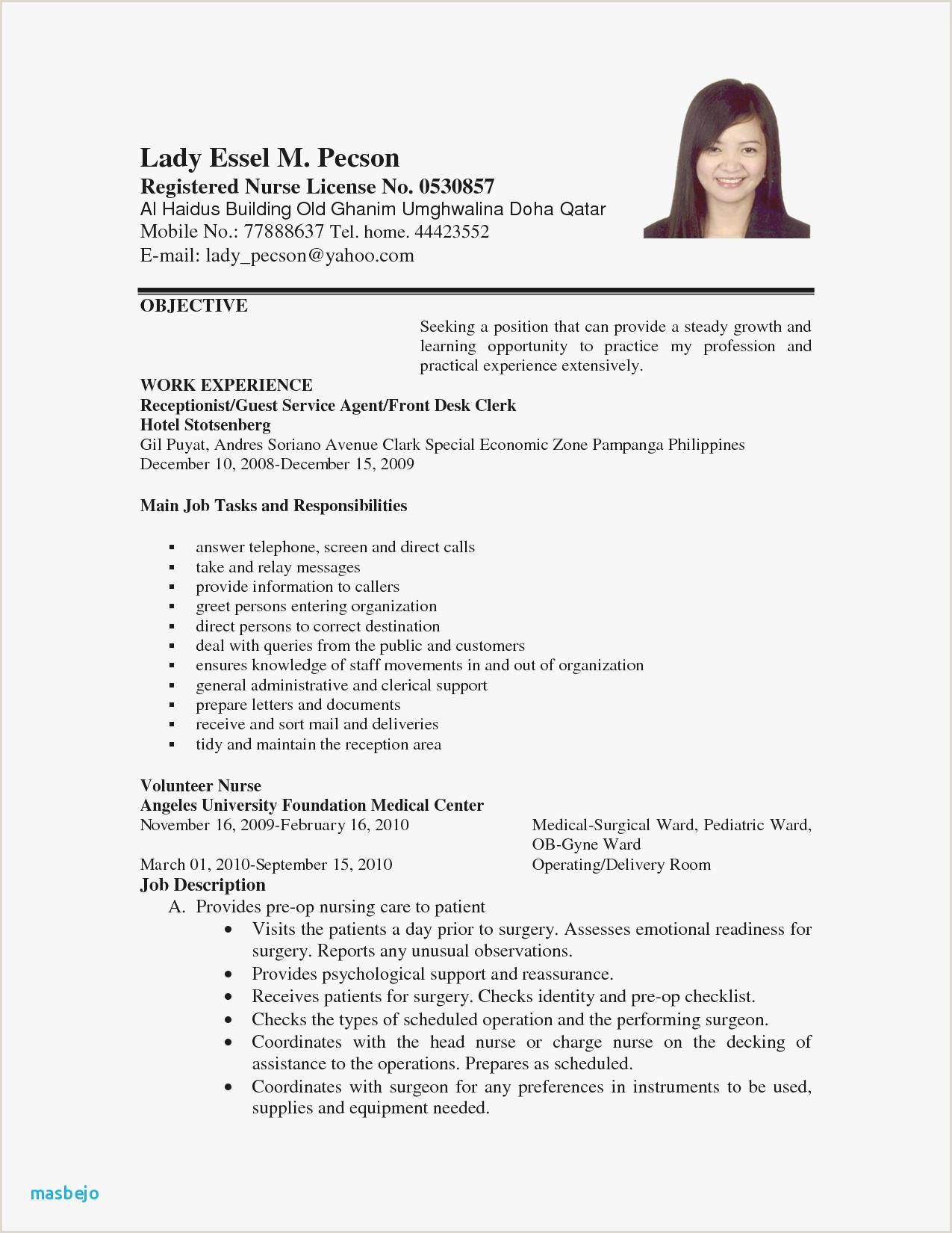 Ca Fresher Cv format Sample Resume In Pdf for Freshers Valid Cna Resume Sample