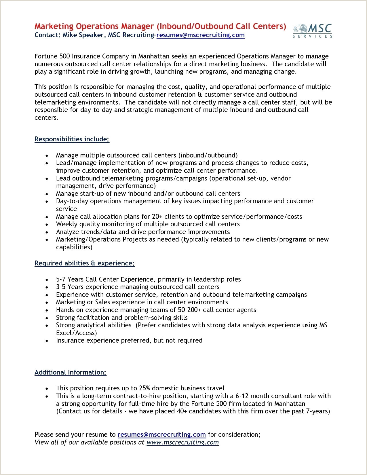 Telemarketing Job Description for Resume Luxury Beautiful