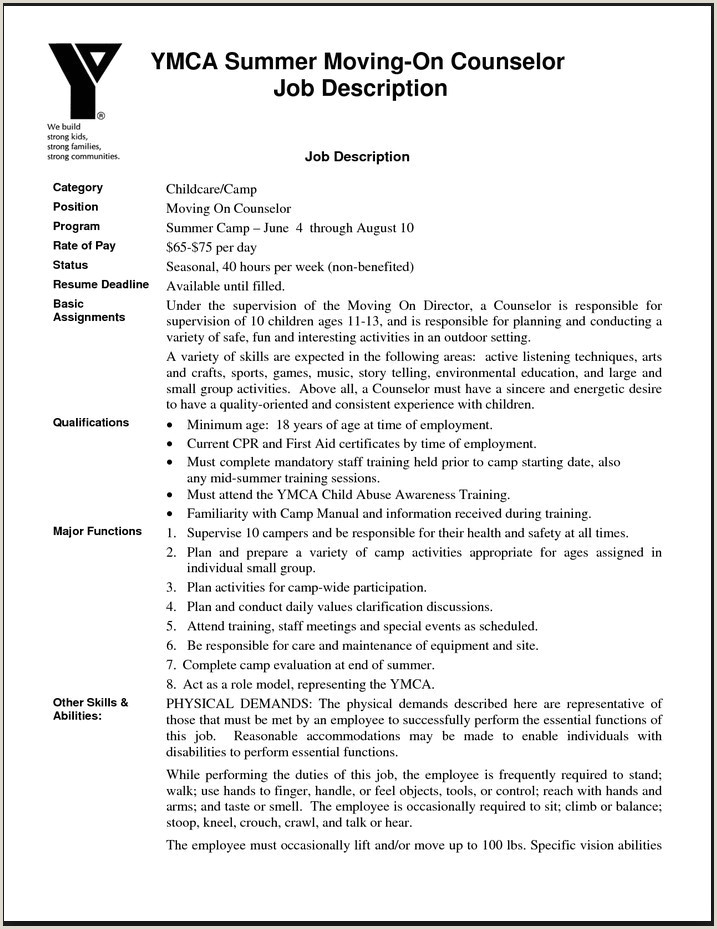 Camp Counselor Job Description for Resume Best Responsibilities A Camp Counselor for Resume