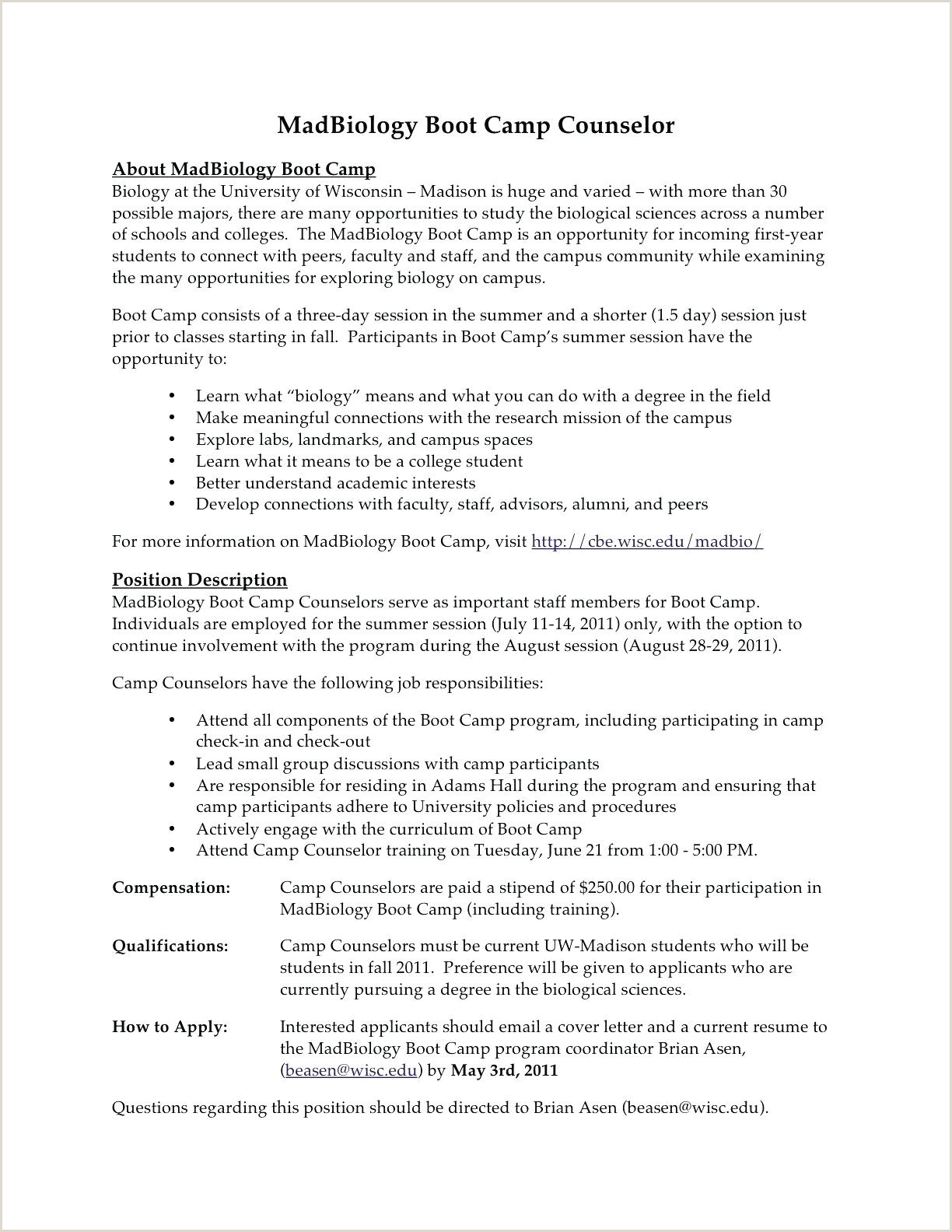 Camp Counselor Job Description for Resume Resume Youth Counselor Resume