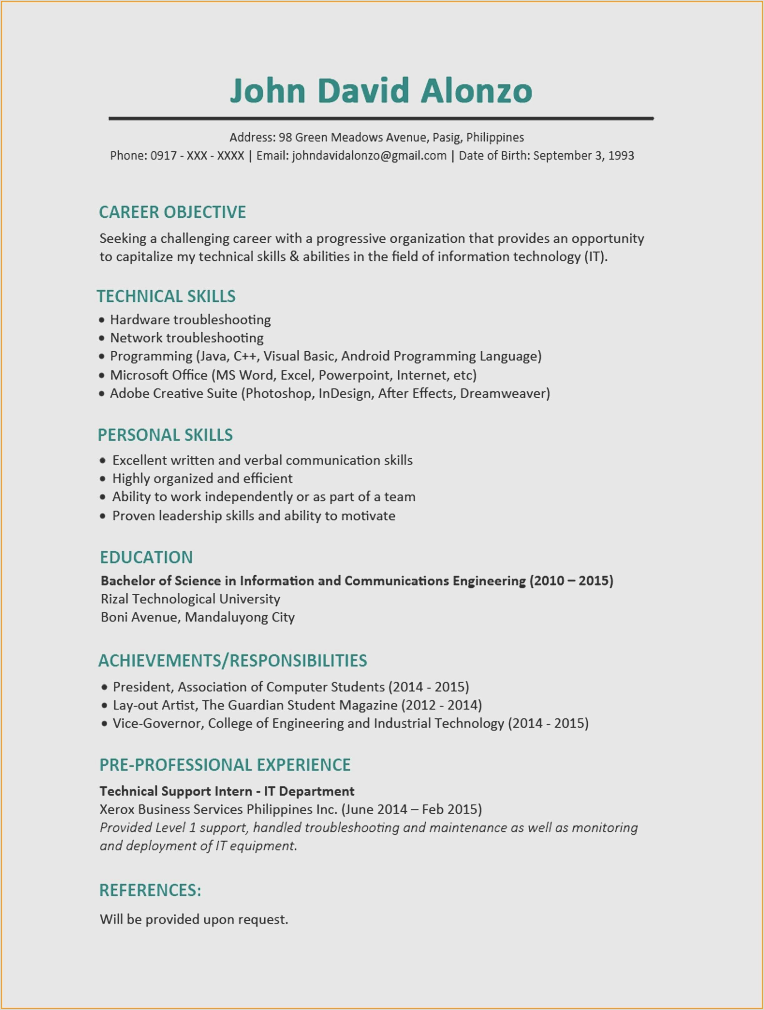 Career Objective for Computer Engineer Opportunity Statement Template Fresh Resume Objective