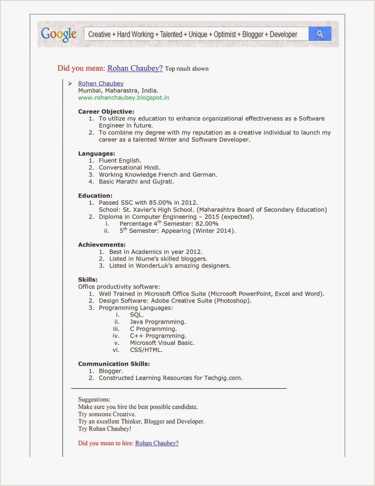 Career Objective for Engineer Free Resume format for software Engineer – Salumguilher