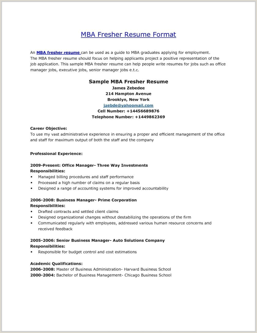 Mba Marketing Resume Format For Freshers Best Template