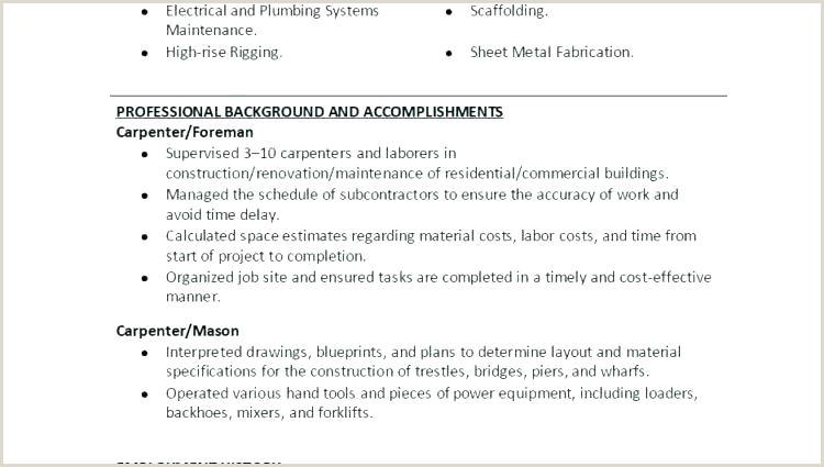 Word Resume Templates Free Template In Carpenter Tem