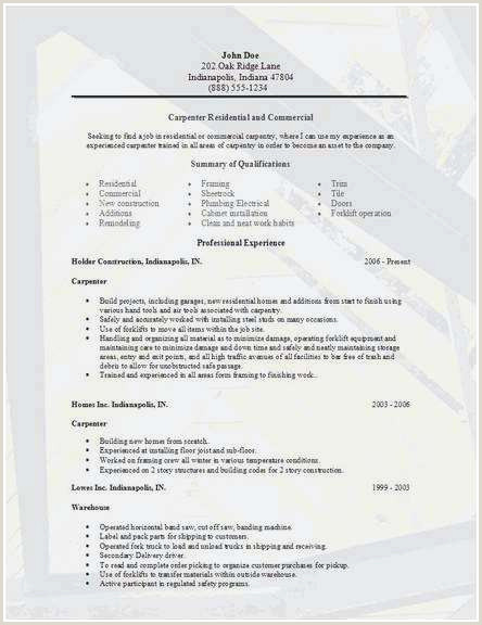 Carpenter Resume Sample Eit Resume
