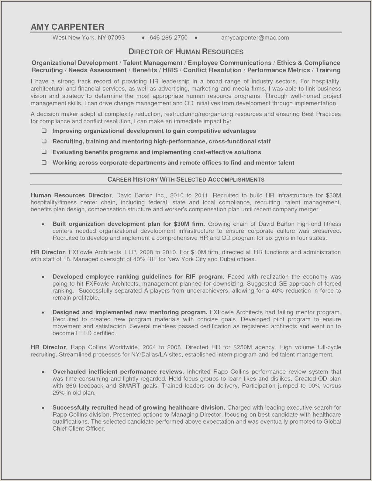 Carpenter Resume Skills Chief Staff Resume