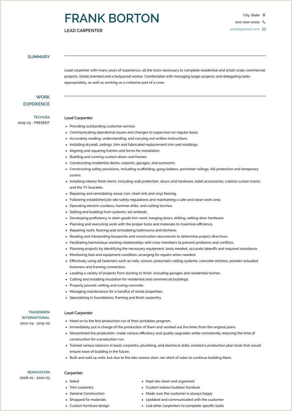 Publicado Carpenter Resume Samples & Templates