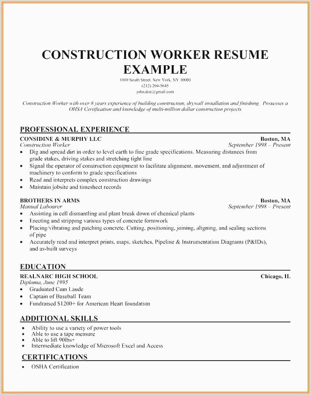 Resume Examples Construction Worker – Salumguilher
