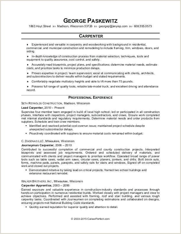 Carpenter Resume Sample For A Builder Specification Sheet