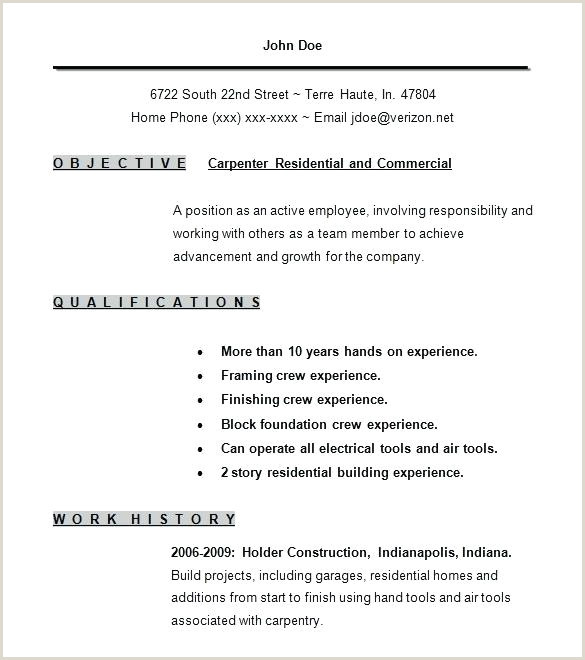 Free Carpenter Resume Templates Template 9 Samples Examples