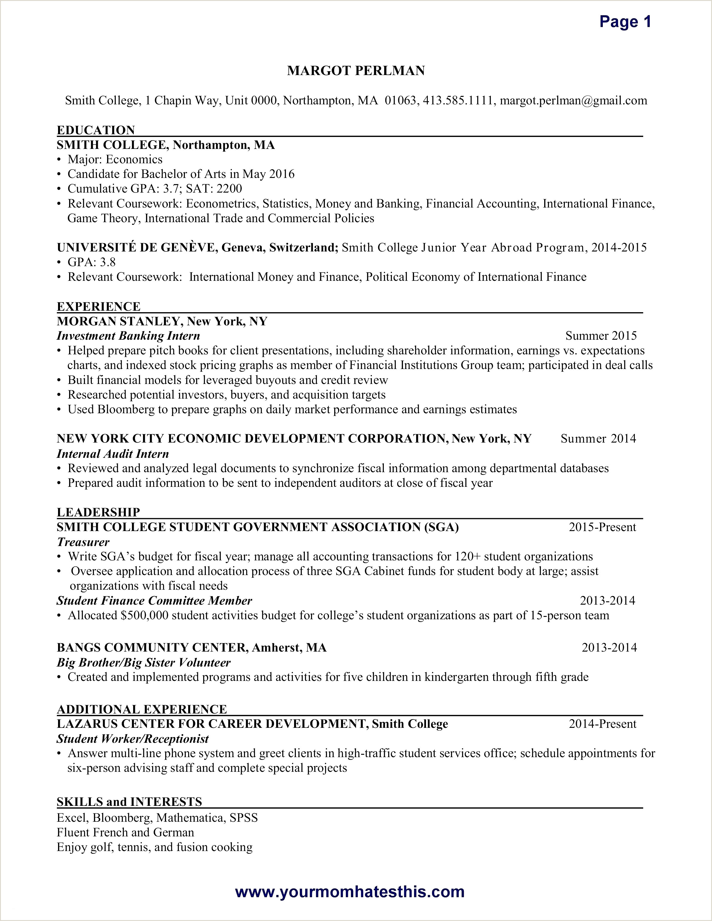 10 experience section of resume
