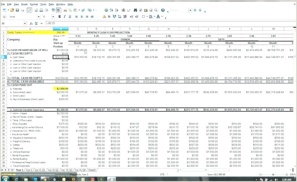 Cash Flow Projection Excel Pro Cash Flow Template Excel Balance Sheet Examples Ideas