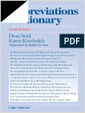 Abbreviations Dictionary 10th ed D Stahl K Kerchelich