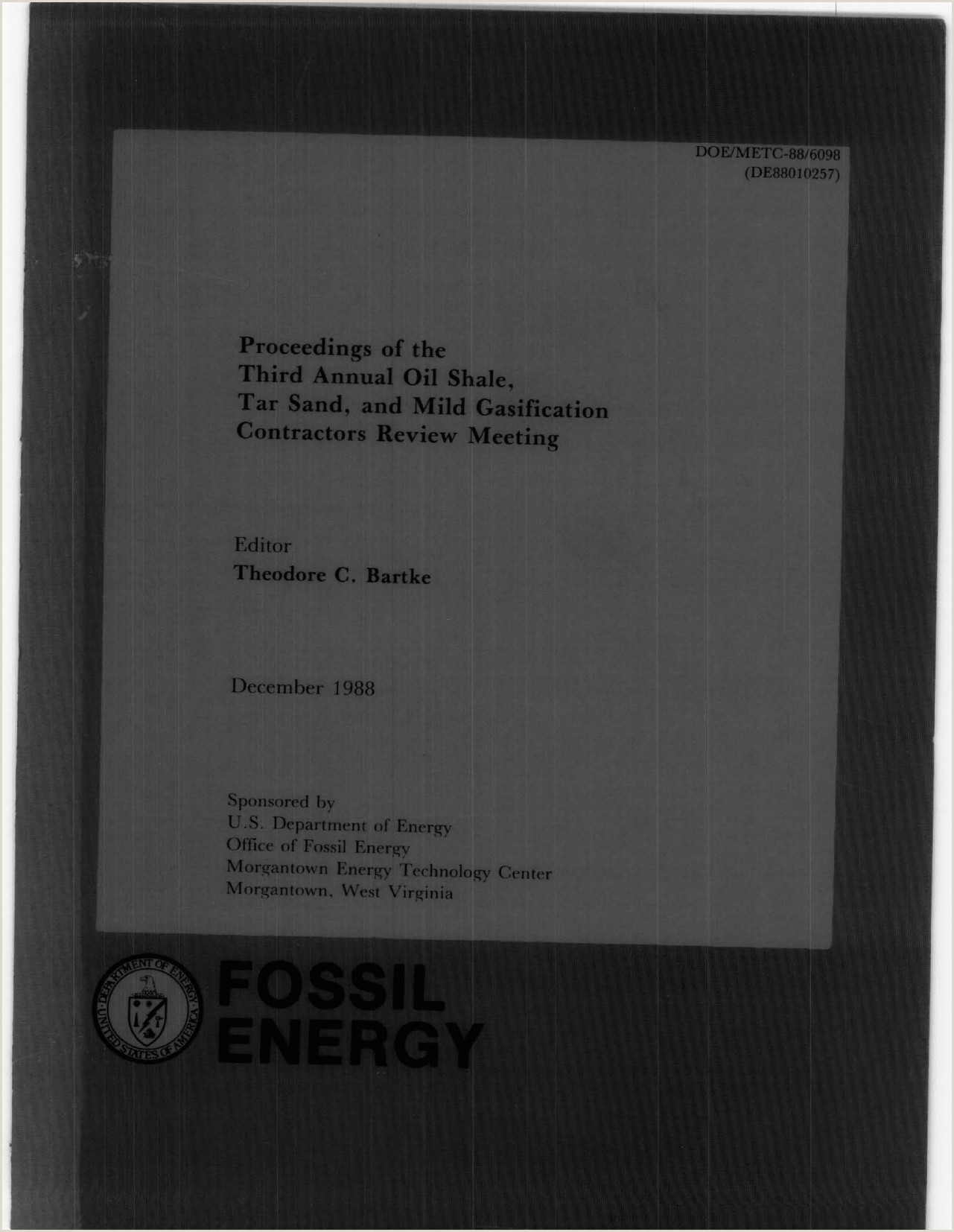 Proceedings of the Third Annual Oil Shale UW Digital