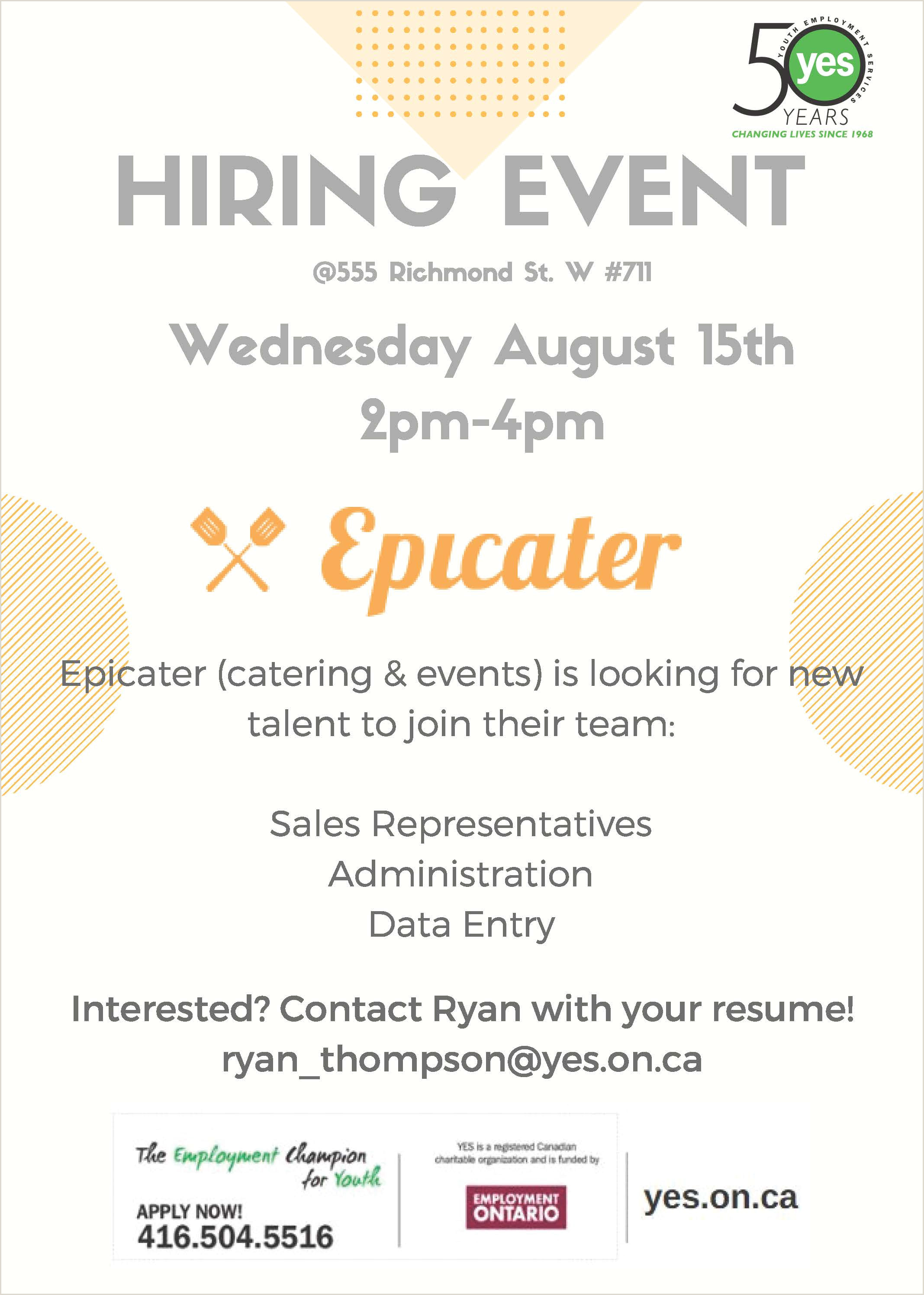 Catering Job Description for Resume Epicater Hiring event Wednesday August 15th