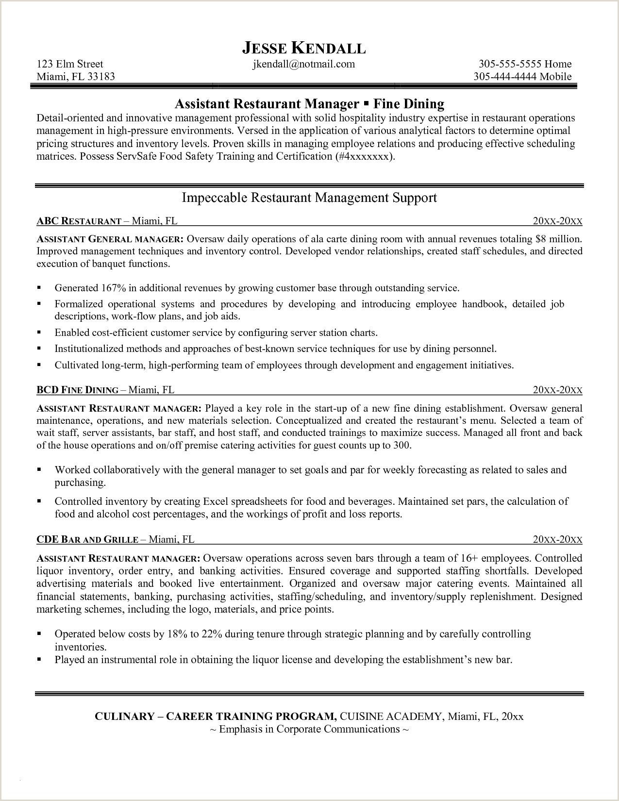 Catering Job Description for Resume Training Manager Resume Templates Template Nanica Sample and