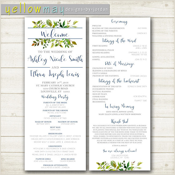 Greenery Wedding Program Ceremony Program Catholic Wedding