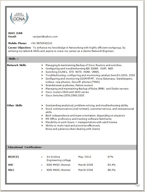 Ccna Fresher Resume format Free Download Network Engineer Resume Sample for Fresher
