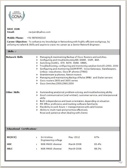 Ccna Fresher Resume Format Free Download Network Engineer Resume Sample For Fresher
