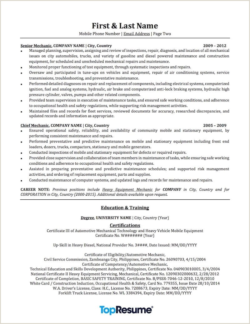 Cell Phone Technician Resume Best Resume for Auto Mechanic