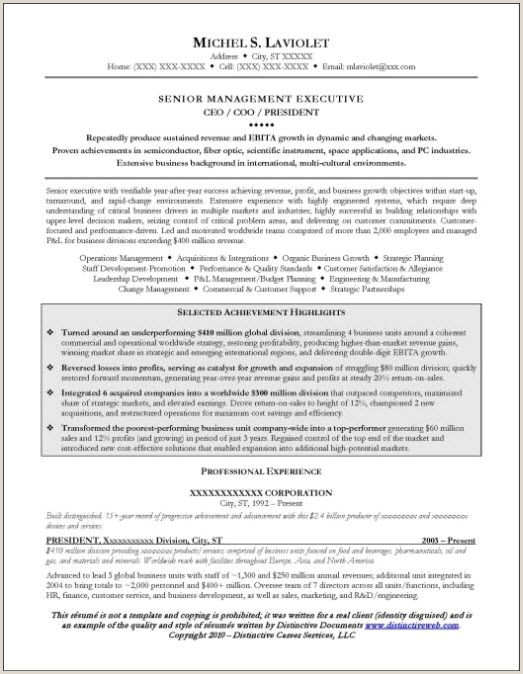 CEO Resume Example Page 1 Resume Examples