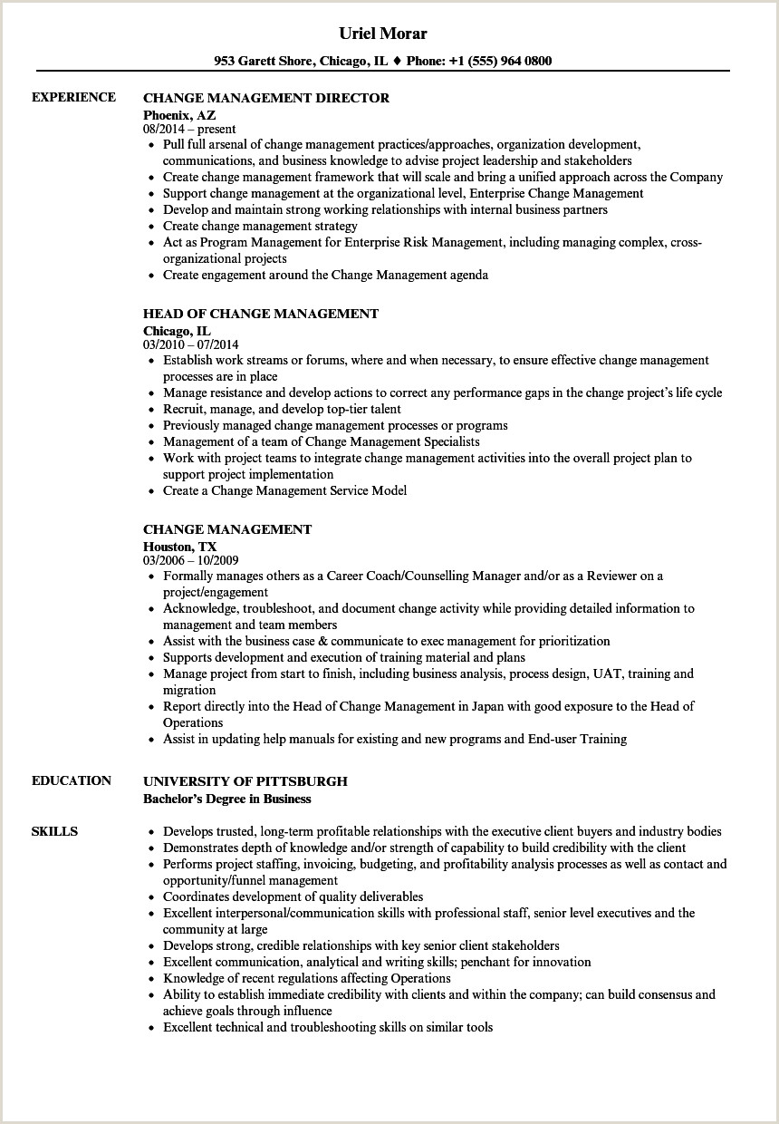 Change Management Resume Samples