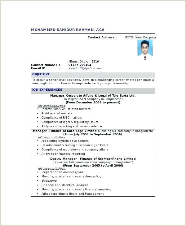 Chartered Accountant Resume Doc Chartered Accountant Cv Template – Kidzmagz
