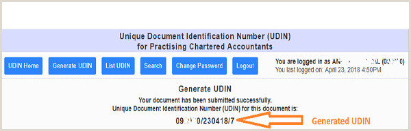 Chartered Accountant Resume Doc Unique Document Identification Number Udin for Practising Cas