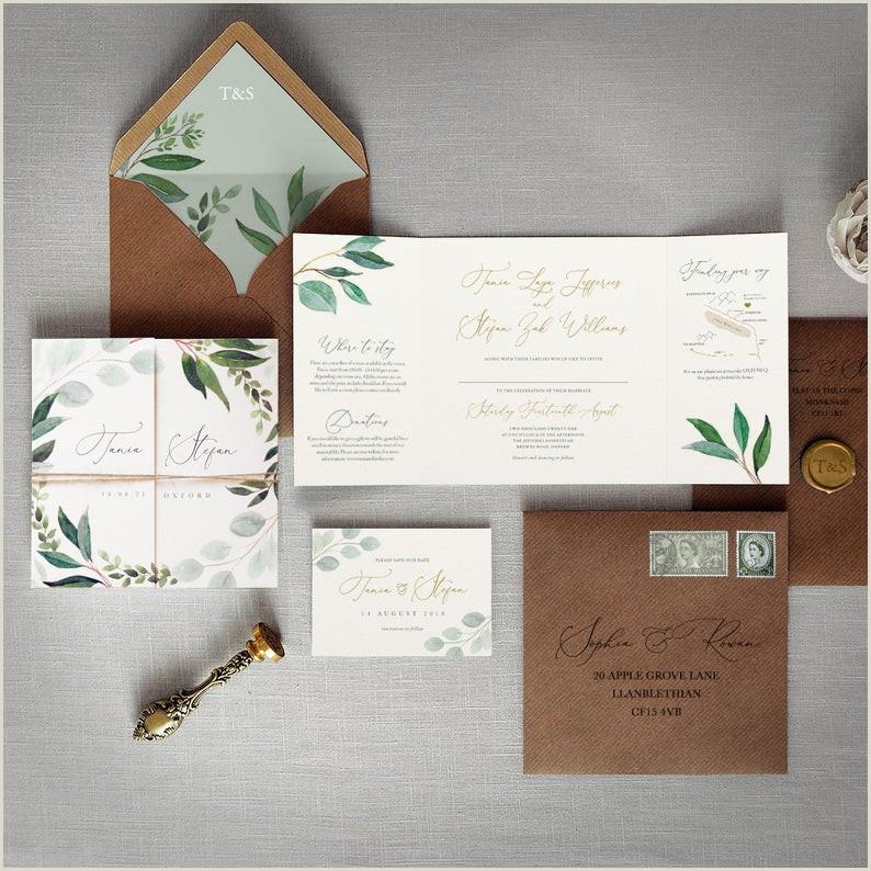 Cyprus Wedding Invitations & Save the Date Eucalyptus luxury folding wedding invites Rustic green cyrillic wedding invitations
