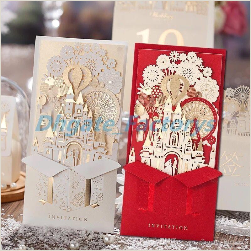Unique 3D Laser Castle Wedding Invitations Cards laser cut 2016 Cheap Personalized wedding Invitation Card Designs
