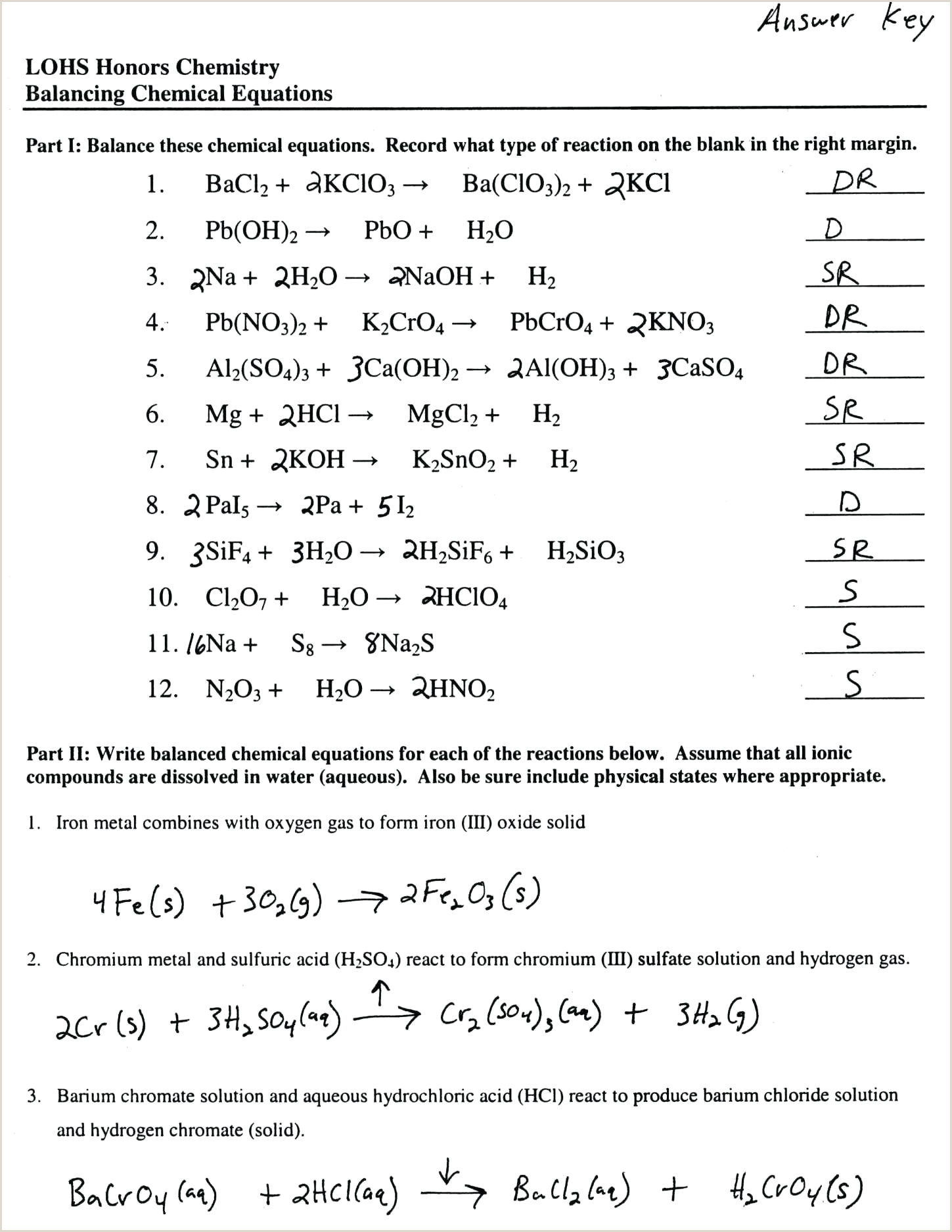 Chemistry Types Of Reactions Worksheet Chemical Reactions Worksheet Answers Types Chemical