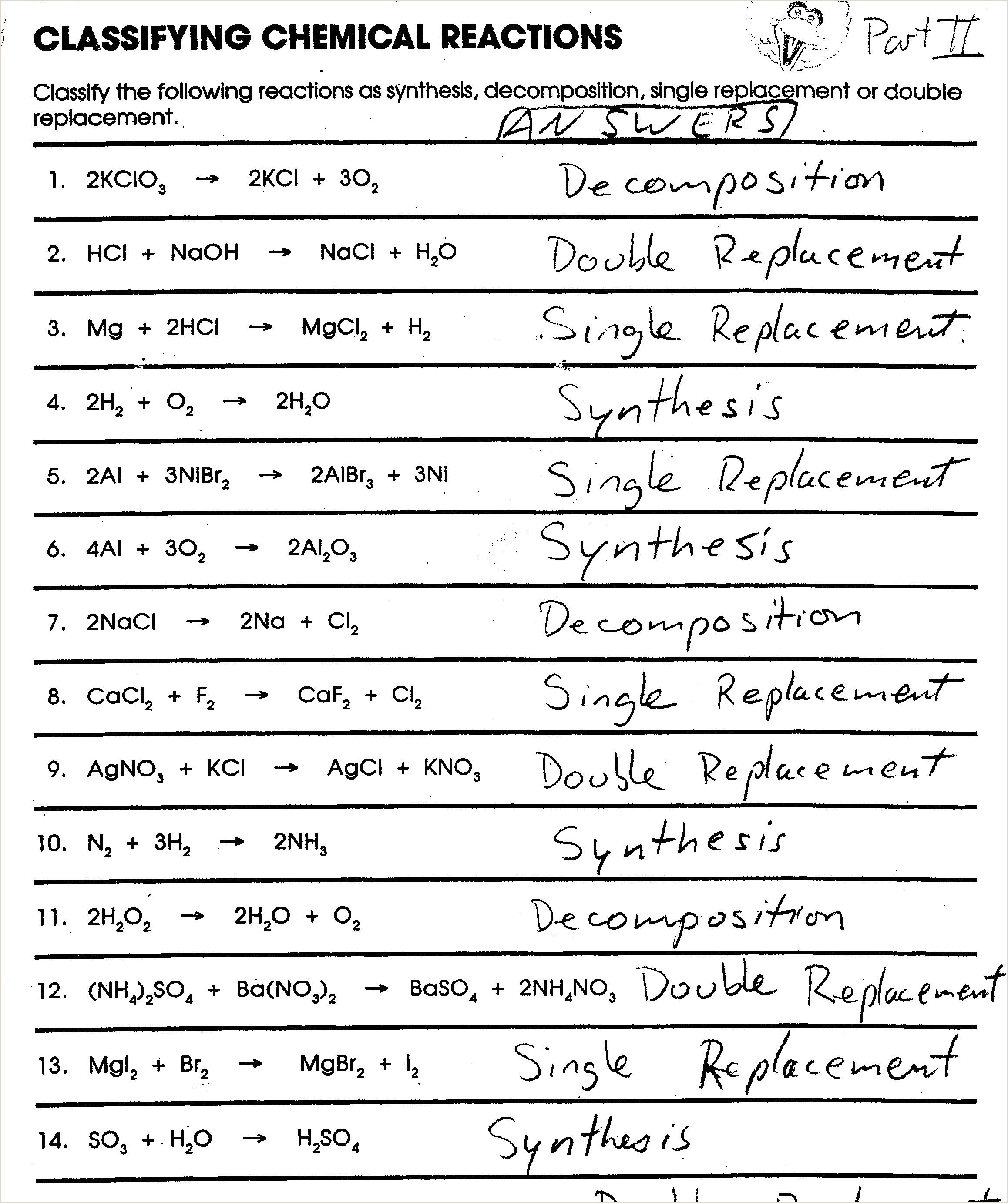 Chemistry Types Of Reactions Worksheet Types Of Reactions Worksheet Balance the Following