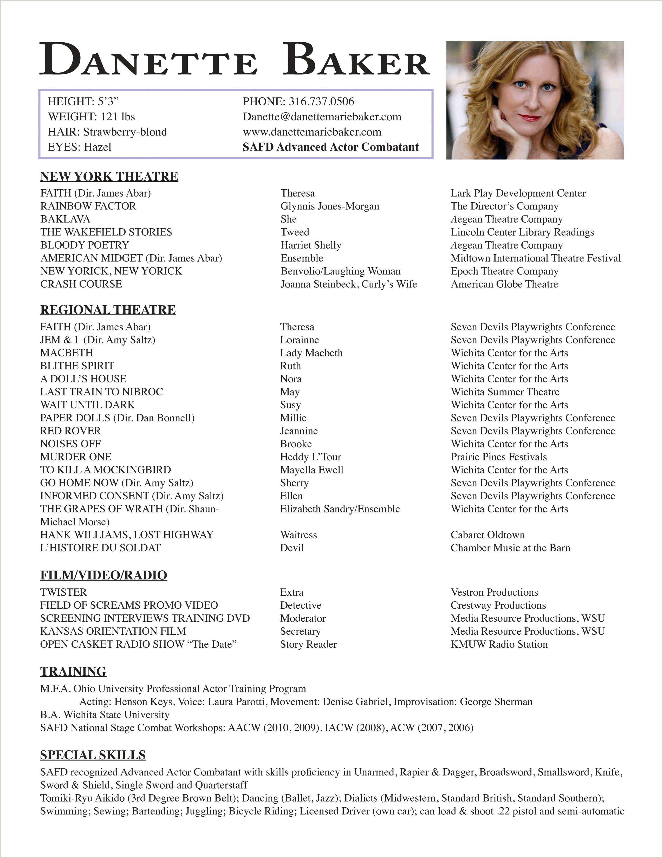 Child Actors Resume Child Actor Resume Fresh Best Actor Resume Unique Actor