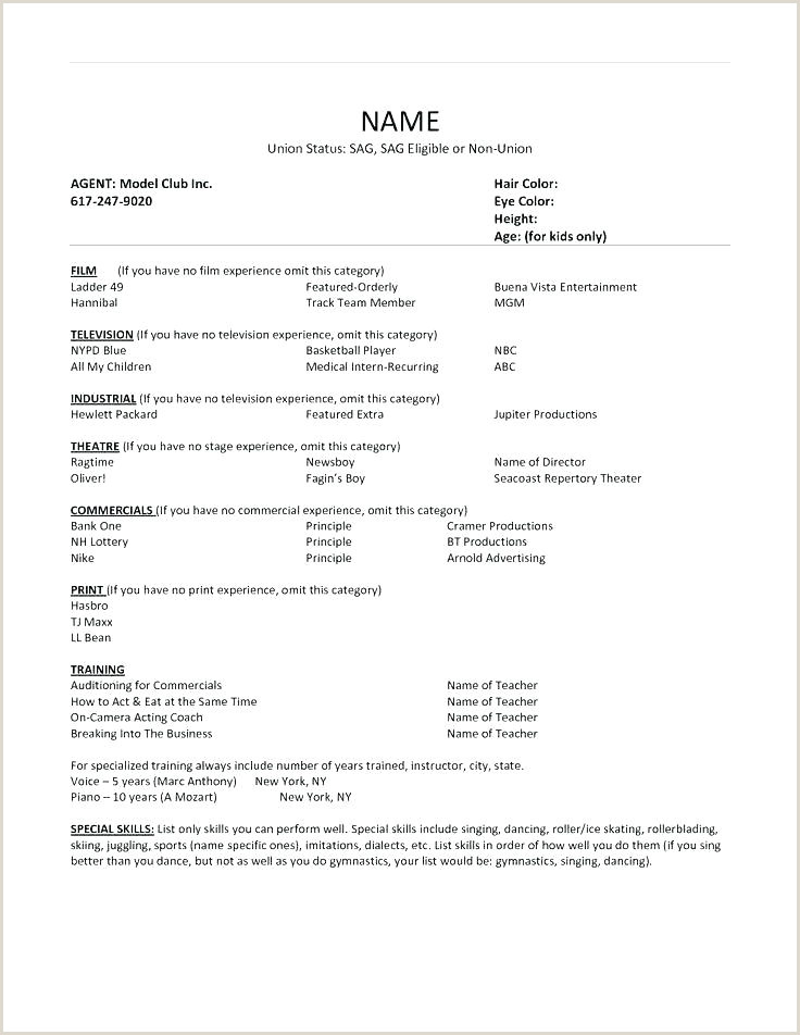 Child Actors Resume Child Cv Template – Musacreative