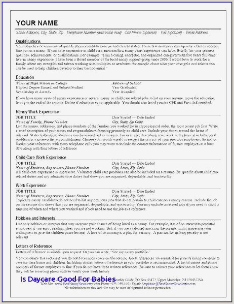 Cover Letter for Daycare New Daycare Resume Examples Teacher