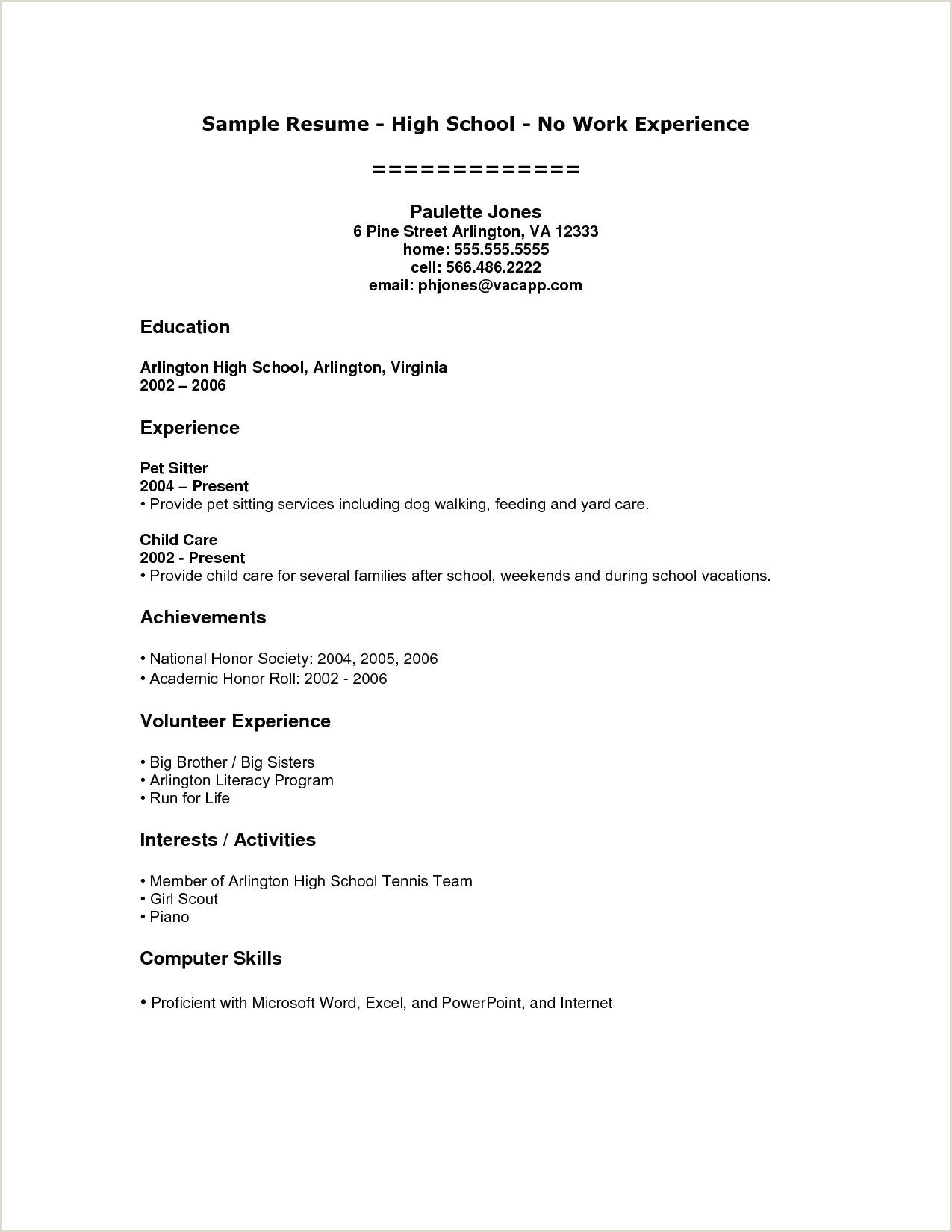 Child Care Resume Sample No Experience High School Student Resume Examples No Work Experience