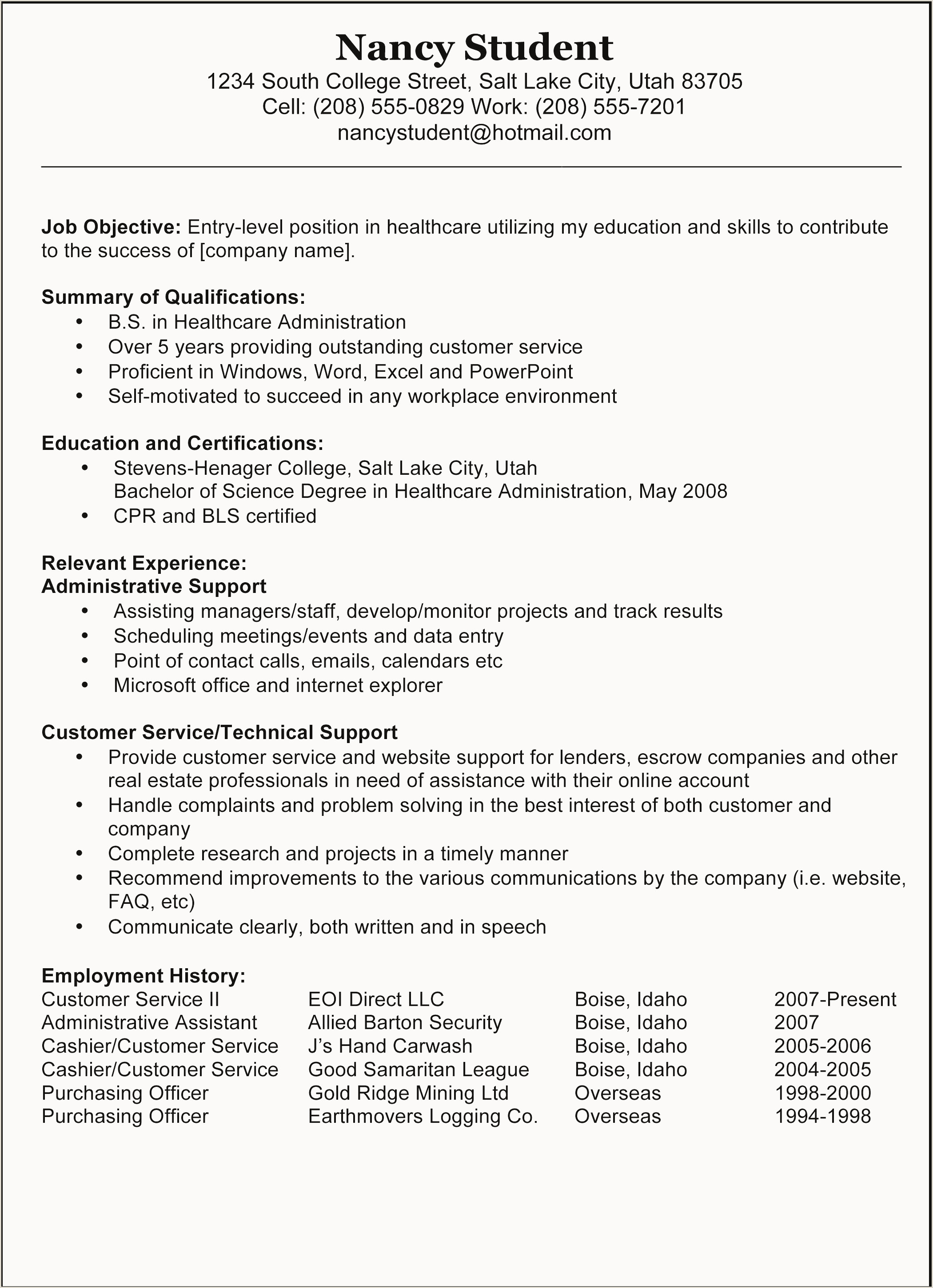 Early Childhood Education Resume Objective Unique Child Care