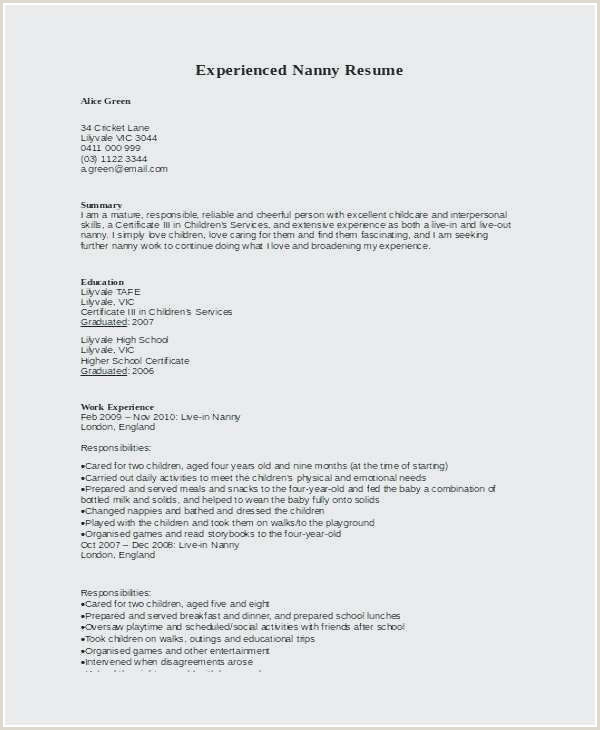 Unique Resume for Childcare