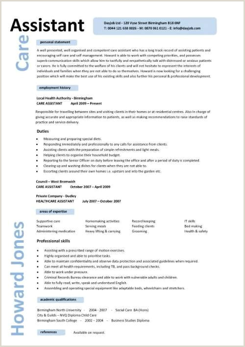 Child Care Worker Resume Sample Care assistant Cv Beyinianstern