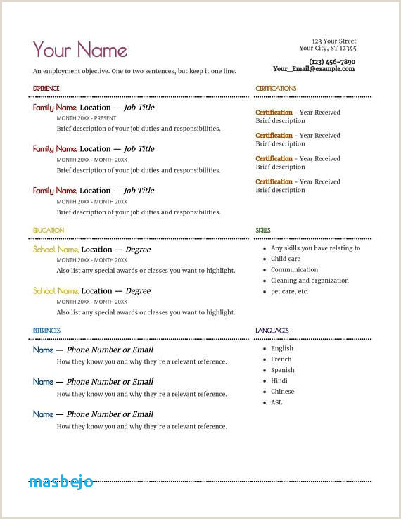 Daycare Resume New Child Care Resume Samples Inspirational
