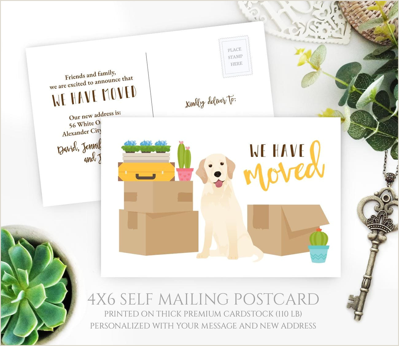 PRINTED Dog owner moving announcement postcard