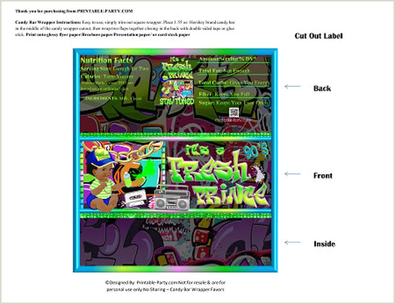Chocolate Bar Wrapper Template Printable Candy Bar Wrappers It S A Fresh Prince Hip Hop 90 S Throwback Green Blue African Chocolate Bar Labels