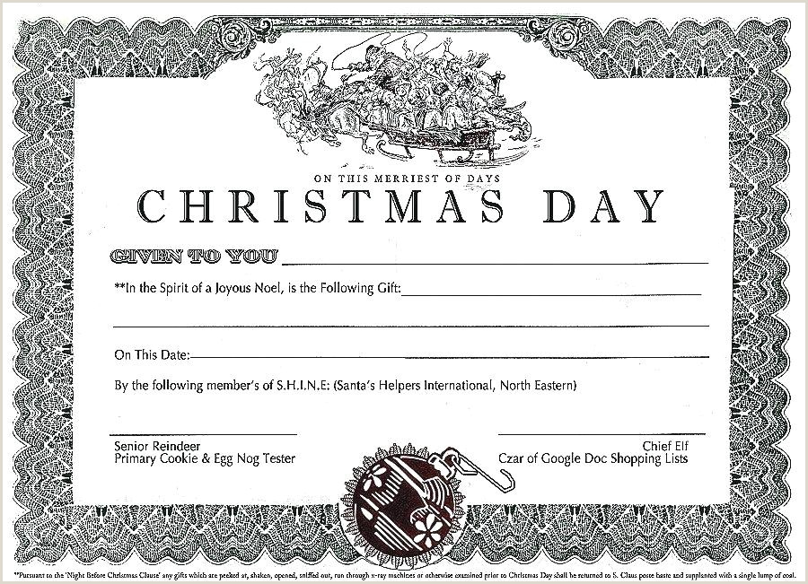 Christmas Certificates Templates for Word Print Free Gift Certificates Printable Certificate Template
