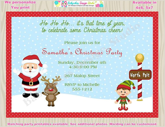 Holiday party invitation invite children s Christmas party